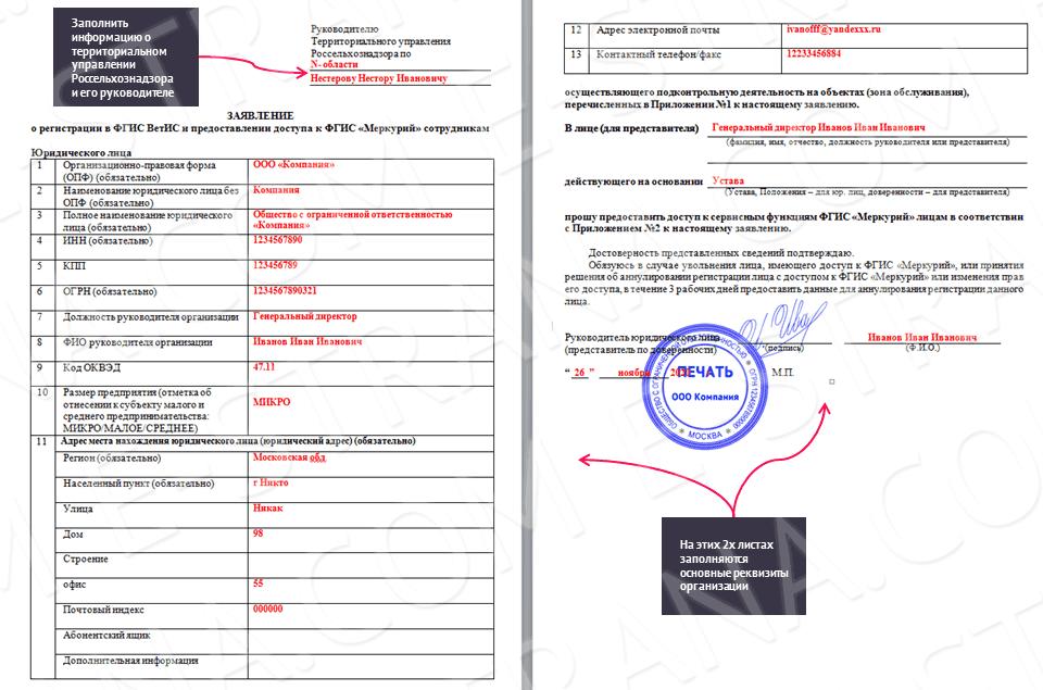 бланк регистрации меркурий для юридического лица